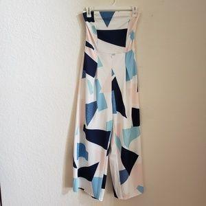 Pants - Blue choker pattern Romper
